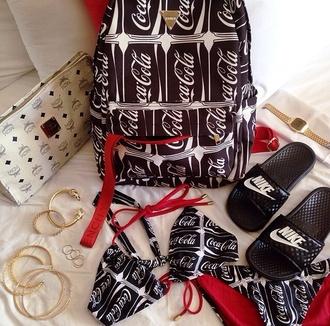 bag backpack back to school red black black bikini bikini swimwear jewels nike