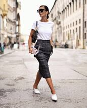 skirt,pencil skirt,midi skirt,wool,mules,white t-shirt,dior bag,shoulder bag,black sunglasses,earrings,striped skirt,high waisted skirt,sunglasses,hoop earrings