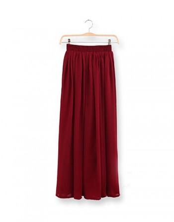 Miirue - Maroon Maxi Skirt - Online Shopping Malaysia Singapore