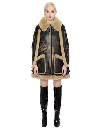 cape vintage fur brown beige top