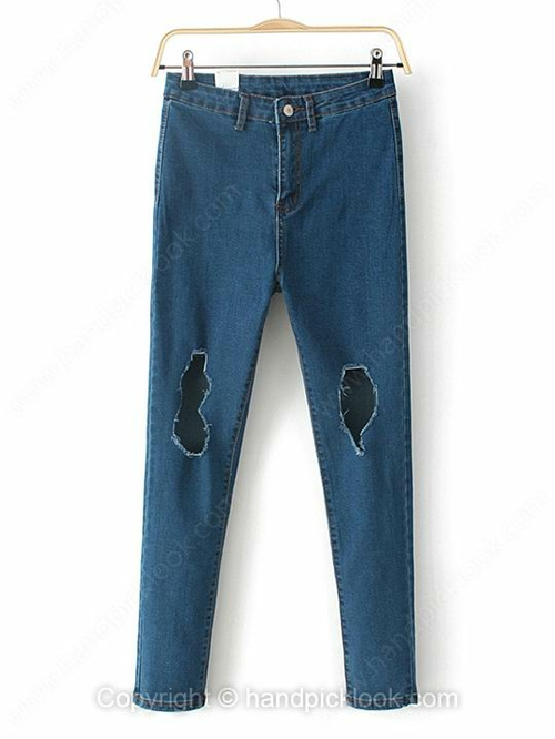 Blue Slim Ripped Hole Tapered/Carrot Button Fly Jean - HandpickLook.com