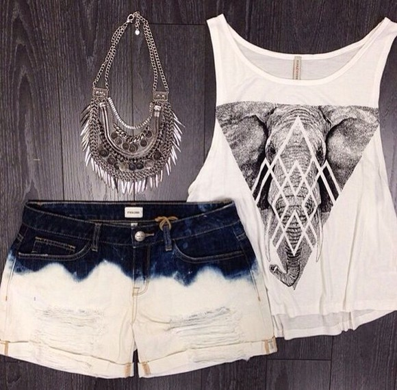 triangle tank top jewels crop tops elephant shirt statement necklace denim shorts ombre