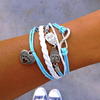 jewels bracelets owl dog paws infinity braided baby blue layered