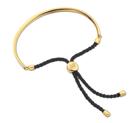 Gold Fiji Friendship Bracelet - Black for Energy | Monica Vinader