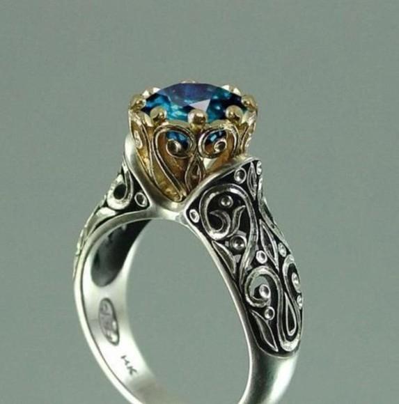blue jewels ring gold vintage silver gem
