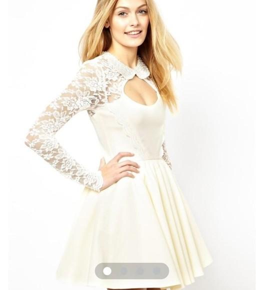 peter pan collar dress cream white collar beads lace short long sleeves prom asos