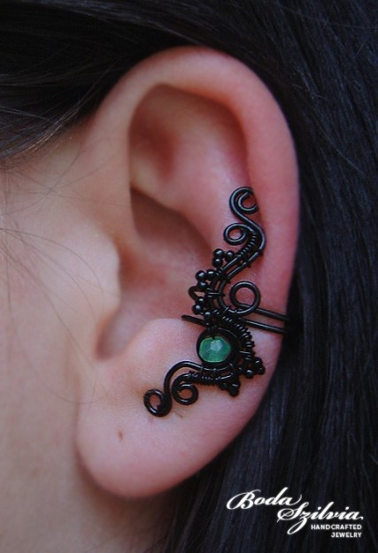 After rain wire wrapped ear cuff with aventurine ($1-20) - Svpply