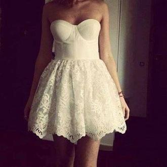 dress lace lace dress fashion white style prom prom dress cute pretty