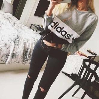 sweater grey black sweat sweatshirt adidas white jeans