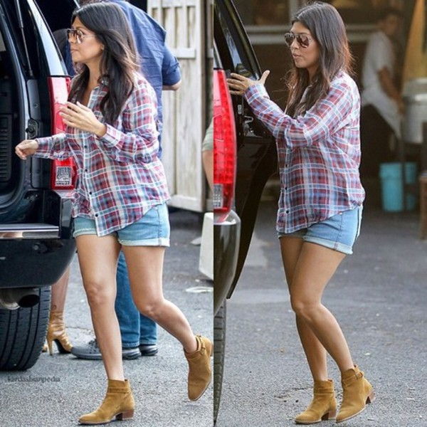 kourtney kardashian shirt sunglasses boots shoes