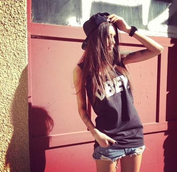 tank top black shorts black tank top summer tank tops obey obey clothing obey her denim used jeans cap watch clothes