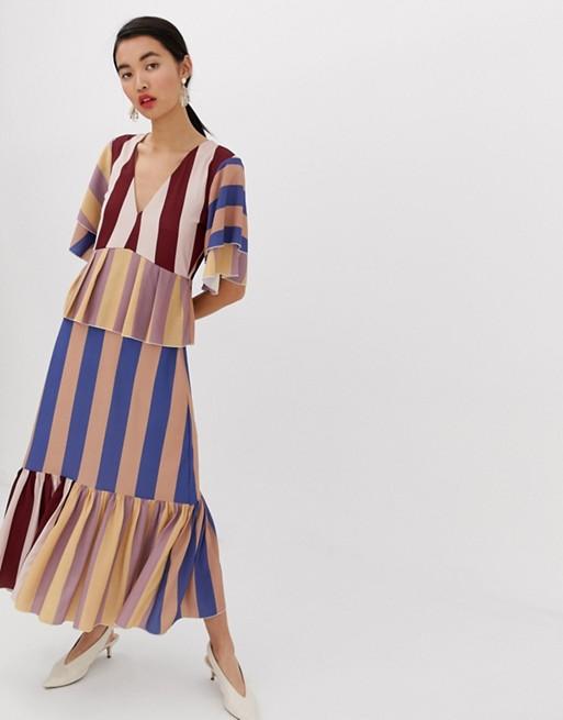 Lost Ink - Lange aangerimpelde jurk met strepen in meerkleurig at asos.com