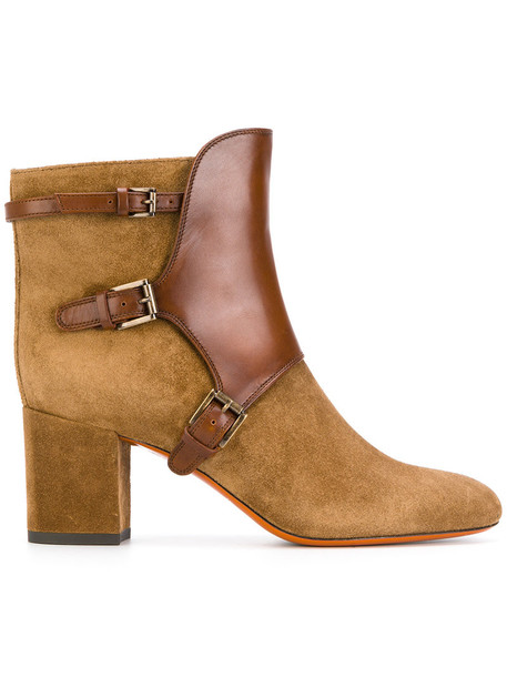 Santoni women ankle boots leather suede brown shoes