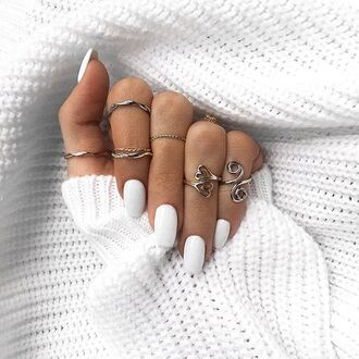 nail polish tumblr white nails nails knuckle ring ring silver ring jewels jewelry accessories