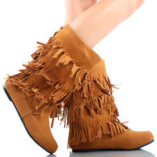 Tan suede bead tassel fringe layer indian mid calf moccasin women flat boots 7