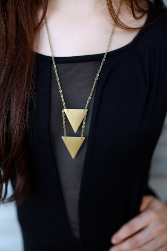 Double triangle triangle necklace geometric by aidenmodernvintage