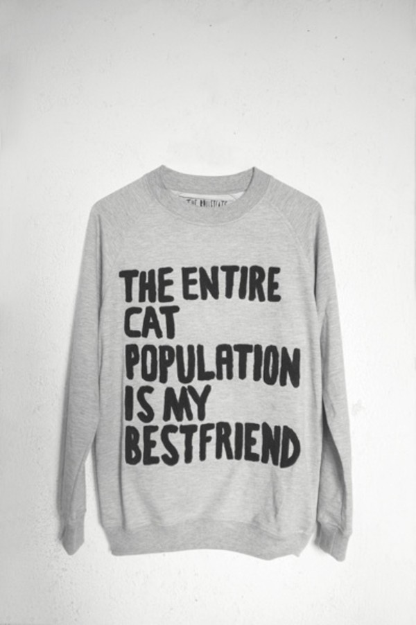 sweater grey textured sweater cats cats quote on it grey sweater