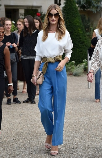 pants top blouse fashion week 2014 rosie huntington-whiteley sunglasses