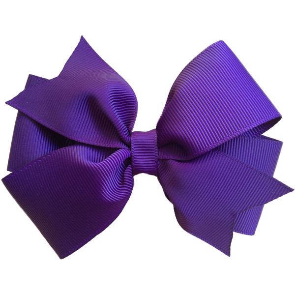 4 inch dark purple hair bow - purple bow - Polyvore