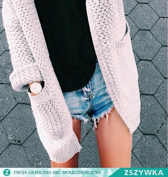 sweater clothes cardigan grey white black jeans shorts girl fashion style knitted cardigan oversized sweater oversized cardigan short shorts denim shorts high waisted shorts cut off shorts hollister jeans shorts outfit grey sweater grey cardigan black top black blouse black shirt watch accessories