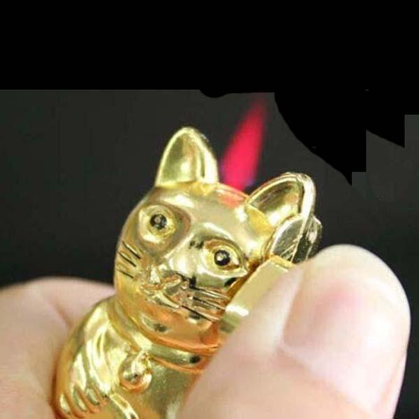 Lucky cat shaped refillable butane gas fuel lighter torch flame cigarette lighte