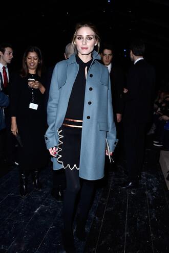 coat olivia palermo blogger fashion week 2016 paris fashion week 2016 skirt blue coat black dress black leggings