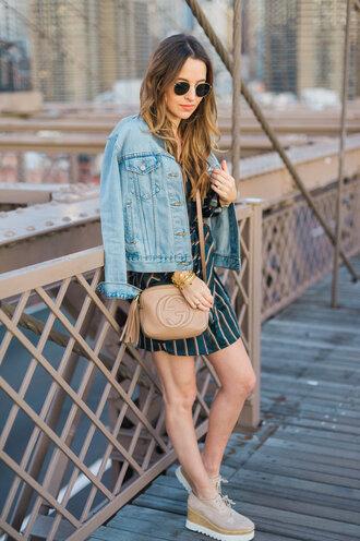 ohsoglam blogger dress jacket shoes sunglasses denim jacket fall outfits crossbody bag gucci bag