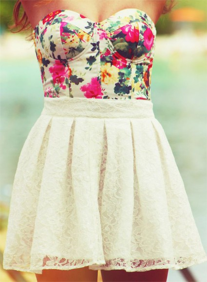 white skirt top crop tops skirt floral floral top