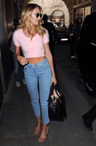 jeans white woman victoria's secret vintage candice swanepoel sweater pants crop sweater pants shirt coat blouse pink blouse rosie huntington-whiteley pink cropped sleeveless sweater top model fluffy candiceswanepoel pretty #bags blue jeans streetstyle sunglasses