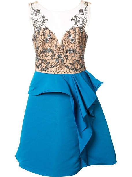 dress embroidered women blue