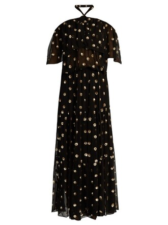 gown chiffon embellished gold black dress