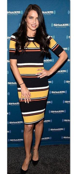 dress stripes striped dress adriana lima pumps midi dress bodycon dress