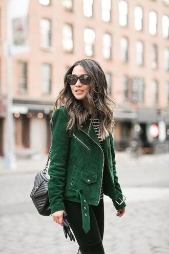 jacket green suede jacket black handbag black jeans blogger sunglasses