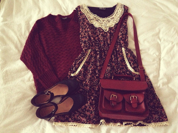 bag shoes leather bag outfit outifit idea lace dress style tumblr outfits brown dress