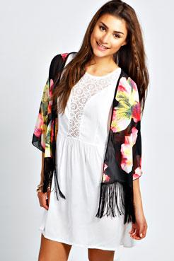 Anna Tropical Floral Tassel Kimono at boohoo.com