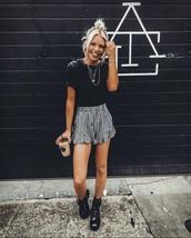 shorts,plaid,black,white,black and white,blouse,skirt,coffee,blonde hair,atlanta,starbucks coffee,blogger