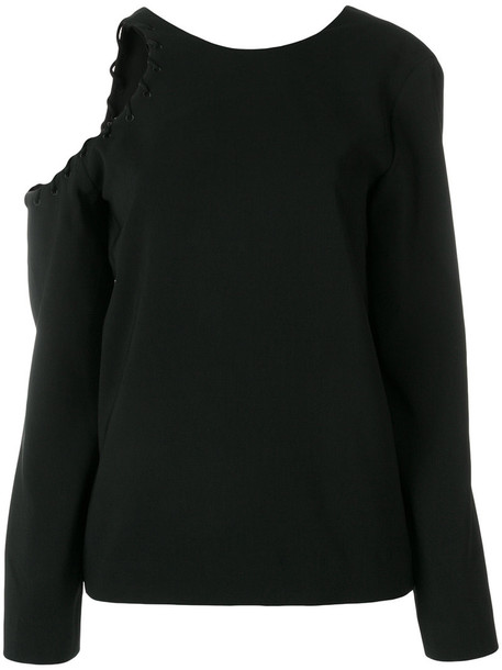 Iro - cut-detail fitted top - women - Polyester - 38, Black, Polyester