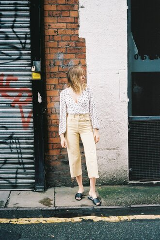 pants tumblr yellow yellow pants cropped pants shoes mules slide shoes top polka dots