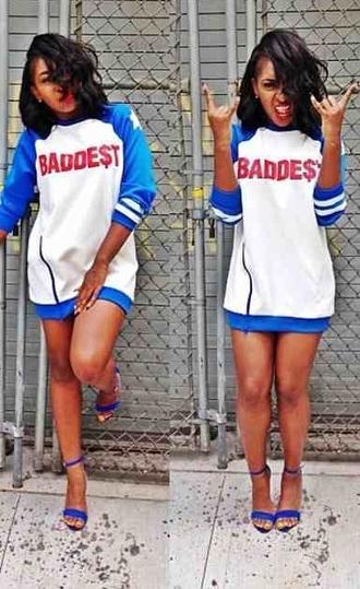 dress long top baddies t-shirt t-shirt dress blue top