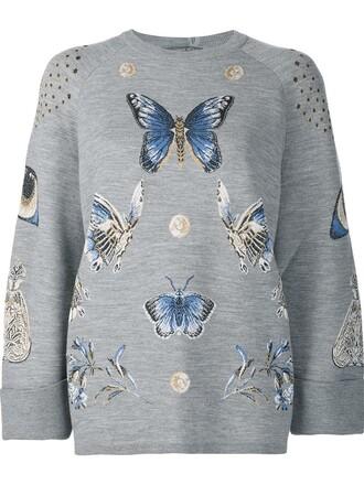 sweatshirt metallic women silk wool grey sweater