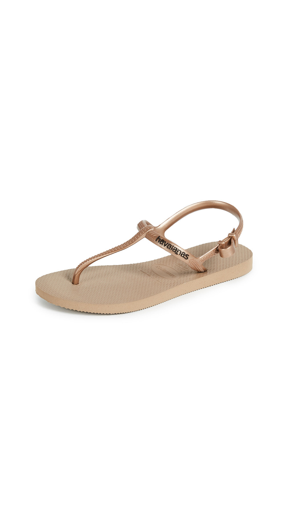 Havaianas Freedom T Strap Sandals in gold / rose