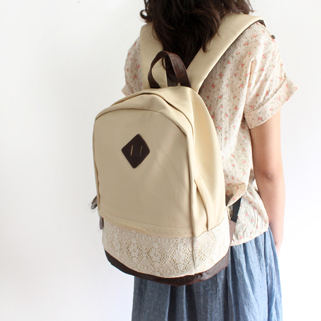 [grhmf22000100]Fashion Cute Hansenne Lace Spliced Backpack