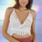 White v-neck cross backless cropped lace bralet