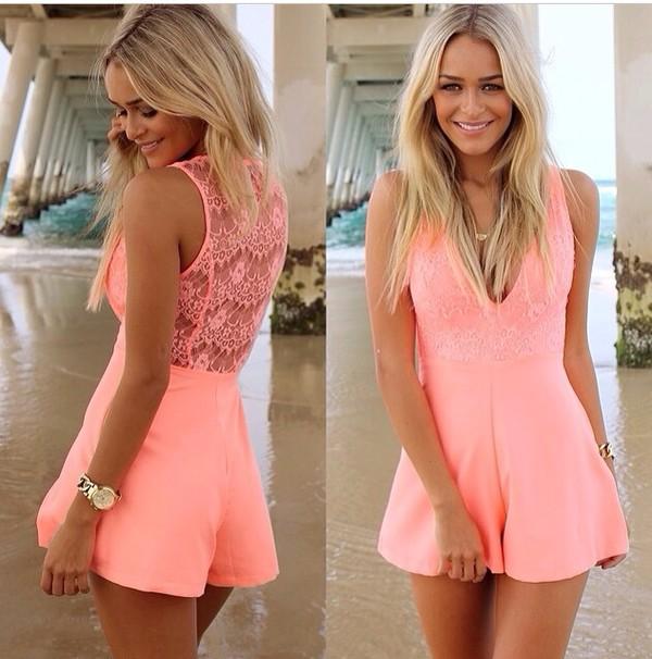 dress lace dress jumpsuit romper cute dress pink dress