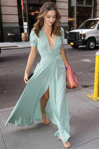 dress maxi dress slit dress long dress long mint deep neck v neck cut leg open leg
