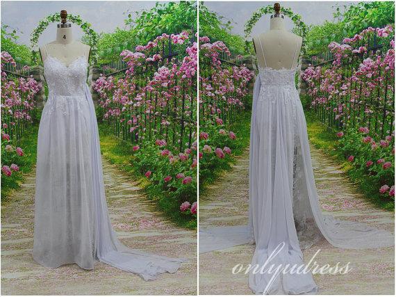Gorgeous chiffon & lace wedding dress spaghetti by onlyudress