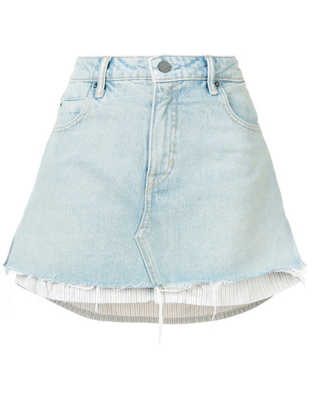 T by Alexander Wang skirt denim skirt denim mini women layered cotton blue