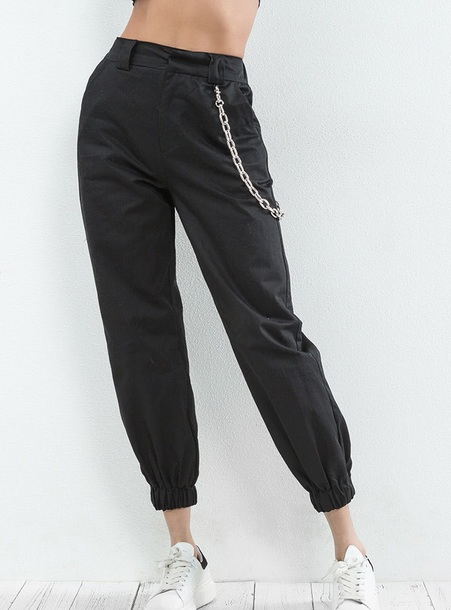 pants girly black joggers trendy cargo pants