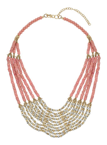 Pink Ethnic Bead Collar - Miss Selfridge