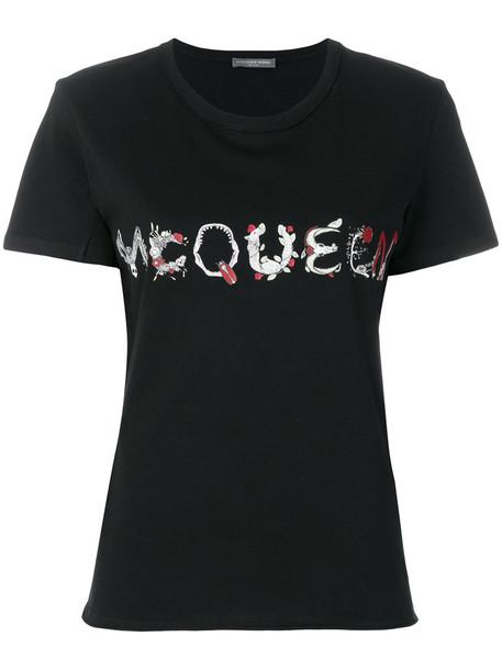 Alexander McQueen - logo T-shirt - women - Cotton - 42, Grey, Cotton